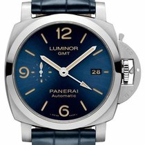Panerai Luminor 1950 3 Days GMT Automatic Acero 44mm Azul Arábigos