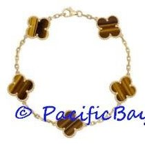 Van Cleef & Arpels Yellow Gold Tigers Eye Alhambra Bracelet