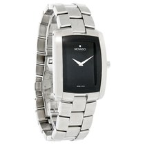 Movado Eliro Mens Rectangular Black Dial Swiss Quartz Watch...