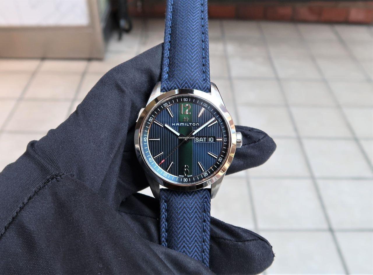 Hamilton Broadway Day Date Quartz Blue Green Textile 40mm