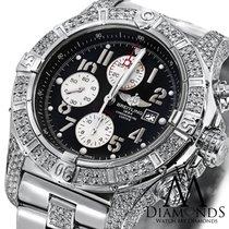 Breitling Diamond Breitling Super Avenger A13370 Black Dial...