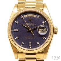 Rolex Day-Date 36 Geelgoud 36mm Blauw Geen cijfers