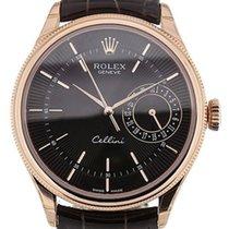 Rolex Cellini Date Oro rosado 39mm Negro