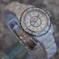 Chanel --- J12 29mm Quartz White Ceramic Diamond Dial Ref....