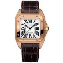 Cartier Rose gold Automatic Silver Roman numerals 34mm new Santos 100