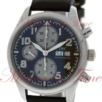 IWC White gold Automatic Brown Arabic numerals 42mm pre-owned Pilot Chronograph
