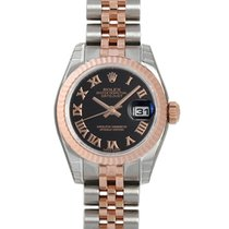 Rolex Datejust Black Roman Dial 18k Rose Gold Fluted