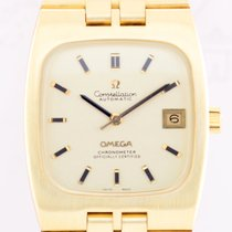 Omega Constellation Rectangular Vintage 18K Gold Chronometer...