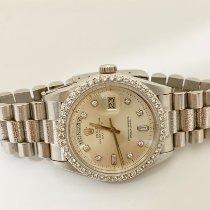 Rolex Day-Date Or blanc 36mm Blanc Sans chiffres
