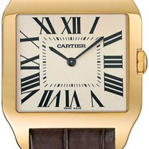 Cartier Santos Dumont pre-owned 35mm Silver Leather