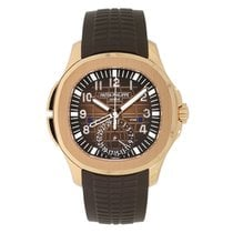 Patek Philippe Aquanaut Travel Time Rose Gold Chocolate Rubber...