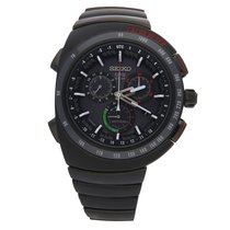 Seiko Chronograph 46mm Quartz pre-owned Astron GPS Solar Chronograph Black