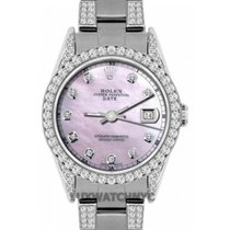 Rolex Date Ladies's 34mm Pink Mother Of Pearl Dial...