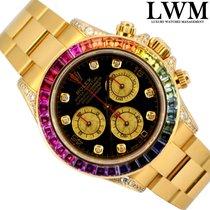 Rolex Daytona 116528 yellow gold Rainbow diamonds Full Set