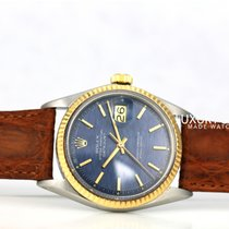 Rolex Datejust Two-tone RARE Blue Dial Fluted Bezel  36mm Leather