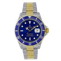 Rolex Submariner Steel & 18K Yellow Gold Blue Bezel Watch 116613