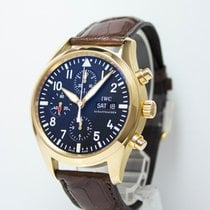 IWC Pilot Chronograph pre-owned 42mm Black Chronograph Date Weekday Crocodile skin