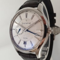 Zenith Elite Dual Time pre-owned 40mm Silver Date GMT Crocodile skin