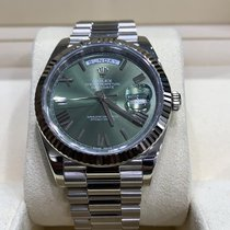 Rolex Or blanc Remontage automatique Vert Romain 40mm occasion Day-Date 40