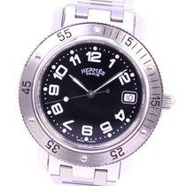Hermès Stahl Quarz Schwarz 38mm gebraucht Clipper