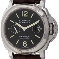 Panerai Luminor Marina Automatic pre-owned Black Date Crocodile skin