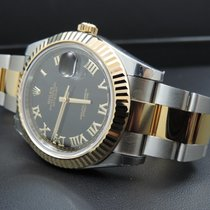 Rolex Datejust II Steel & 18K Yellow Gold Watch Black Roman