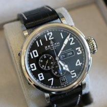 Zenith Pilot Type 20 Annual Calendar pre-owned 48mm Black Chronograph Date Weekday Month Annual calendar Crocodile skin