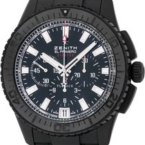 Zenith El Primero Stratos Flyback pre-owned 46mm Black Chronograph Date Crocodile skin