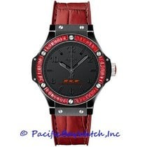 Hublot Big Bang 38 mm pre-owned 38mm Black Chronograph Date Year Leather
