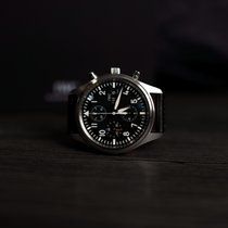 IWC Pilot Chronograph pre-owned Black Chronograph Date Weekday Leather