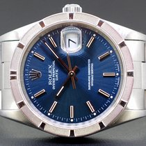 Rolex Oyster Perpetual Date Zeljezo 34mm Plav-modar Bez brojeva