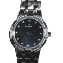 Movado Metio Diamond Face Diamond 18k Bezel Stainless Steel Watch