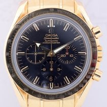 Omega Speedmaster Broad Arrow 18K Gold Black Saphir Gelbgold...