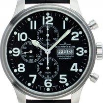 Zeno-Watch Basel Chronograph 47mm Automatik gebraucht OS Pilot Schwarz
