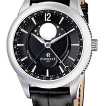 Perrelet A1039/7 Moonphase Series in Steel - on Black Crocodil...