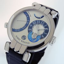 Harry Winston Premier pre-owned 39mm Silver Moon phase Date GMT Crocodile skin