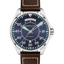 Hamilton H64615545 Acier Khaki Pilot Day Date 42mm nouveau