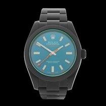 Rolex Milgauss Green Glass Black DLC Coated Stainless Steel...