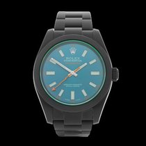Rolex Milgauss Green Glass Black DLC Coated Stainless Steel...