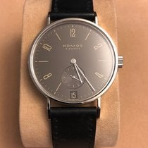 NOMOS Tangente pre-owned 35mm Grey Date Leather