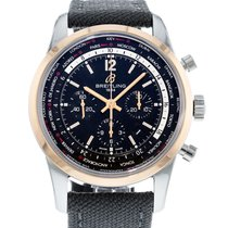 Breitling Transocean Chronograph Unitime pre-owned 46mm Black Chronograph Date GMT Textile