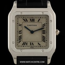 Cartier Platinum Unworn Silver Roman Dial Santos Dumont NOS Gents