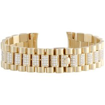 Jewelry For Less Mens 18K Yellow Gold Diamond Watch Band for...