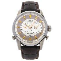 Oris Artelier Worldtimer pre-owned 42.5mm Silver Date GMT Crocodile skin