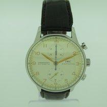IWC Portuguese Chronograph подержанные 41mm Белый Хронограф Кожа