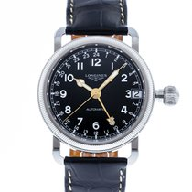 Longines Avigation pre-owned 41mm Black Date GMT Leather