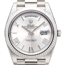 Rolex Day-Date 40 Oro blanco 40mm Plata Romanos