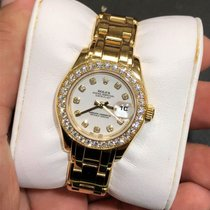 Rolex Lady-Datejust Pearlmaster Or jaune 29mm Blanc