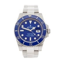 Rolex Submariner Smurf 18K White Gold Men's 116619LB - W4131