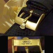 Rolex 18k GOLD Logo Buckle ROLEXSA 750 Swiss 19mm TOBACCO Li